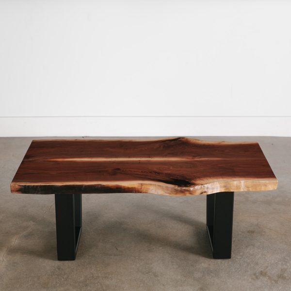 Modern live edge coffee table with black steel legs