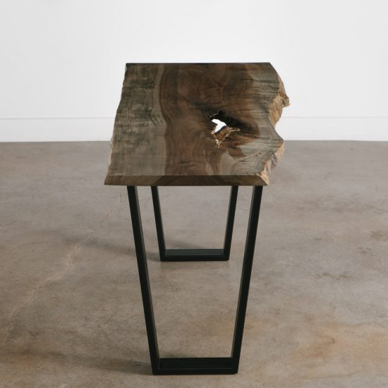 Modern neutral console table for trendy entryway space at Elko Hardwoods furniture store in Chicago
