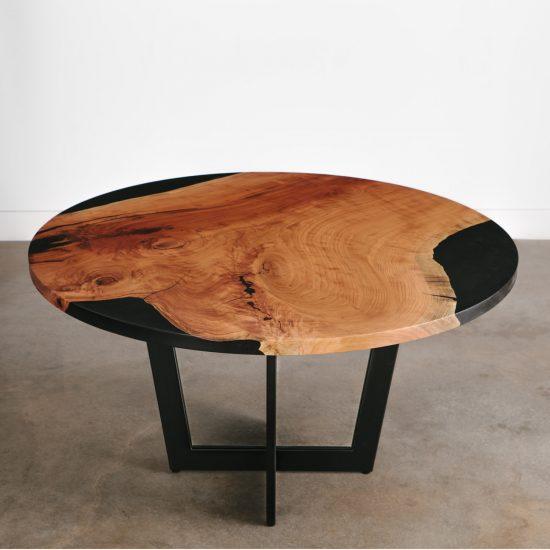 Custom luxury handmade live edge cherry table with black resin