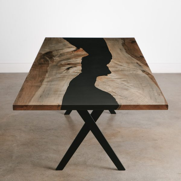Ebonized maple grey live edge dining room table with black resin river and black steel X base