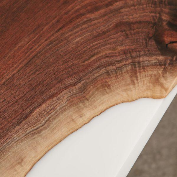 Walnut detail with white epoxy resin Elko Hardwoods