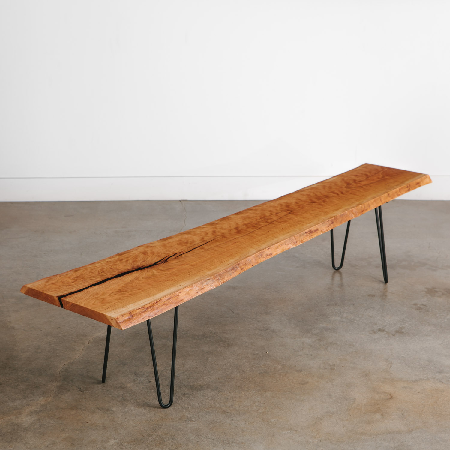 Picture of: Live Edge Bench Hairpin Legs Elko Hardwoods Modern Live Edge Furniture Dining Coffee Tables Desks Benches