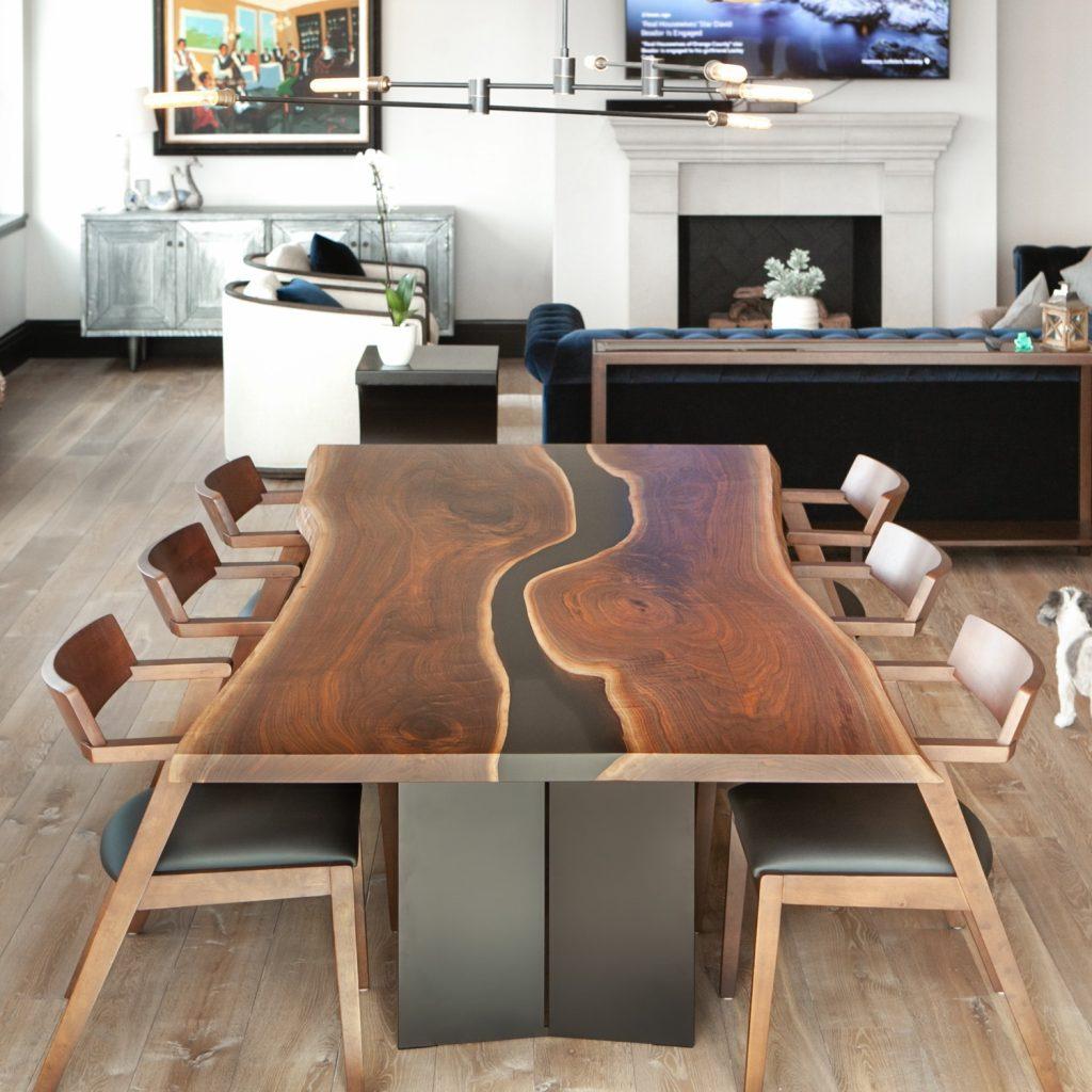 Elko Hardwoods resin river dining table